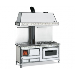 Cuisinière à bois bouilleur Mixte Wekos 180 LGE Inox Genziana